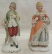 Victorian Man And Lady Starched Lace Green And Orange Figurines Marked Foreign