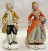 Victorian Man And Lady Starched Lace Yellow And Orange Figurines Marked Foreign