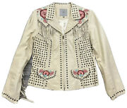 Double D Ranch Ranchwear Ivory Fringed Leather Jacket Flower Embroidery M