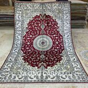 Yilong 6and039x9and039 Red Handmade Silk Area Rug Antique Hand Knotted Floor Carpet 148c