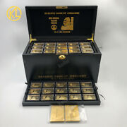 270 Pcs One Hundred Trillion Gold Plated Zimbabwe Bars Banknote In Wooden Box