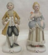 Victorian Man And Lady Starched Lace Yellow And Blue Figurines Marked Foreign