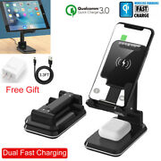 Ipad Tablet Phone Airpods Qi Wireless Charger Holder Charging Dock Station Stand