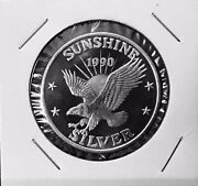 Extremely Rare 1990 Sunshine Mining One Troy Ounce .999 Fine Silver Round