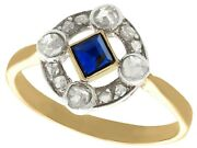 Antique 0.20ct Sapphire And 0.32ct Diamond 18k Yellow Gold Dress Ring