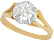 Vintage French 18ct Yellow Gold Diamond Solitaire Ring - Size Q