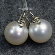 14k Solid Yellow Gold 14.5mm South Sea White Pearl Basket Flyer Earrings