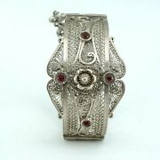 Rare Old Antiques Silver African Bracelet Decorated With Original Yemeni Stone