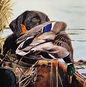 Black Lab And Mallard Duck Hunting 20x20 Original Oil On Linen Painting Buy Now