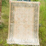 Yilong 3.5'x5' All Over Handmade Silk Rugs Beige Home Carpets Hand Knotted 1759