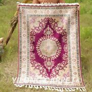 Yilong 3.5'x5' Purple Handmade Silk Area Rug Carpet Porch Hand Knotted Rugs 1754