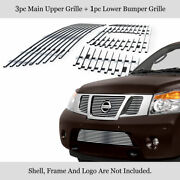 Fits 2008-2015 Nissan Armada Logo Show Stainless Chrome Billet Grille Combo