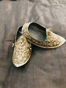 Vintage German Silver Shoes Miniature Handmade Embossed Floral Collector's Piece
