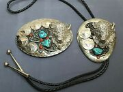 Vintage Silver-tone Buffalo Head Turquoise Coral Nickels Bolo Tie And Buckle Set