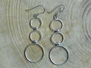 Sterling Silver .925 Tri-circle Dangle Earrings Taxco Mexico