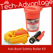 Bn Orange Boat Safety Bailer Kit - Torch Throw Rope Float Compass Whistle Mirror