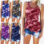 Women Loose Casual Vest Tops Ladies Fashion Camo Sleeveless T-shirt Uk Size 6-24