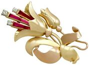 Vintage 1940s Synthetic Ruby 0.16ct Diamond 18carat Yellow Gold Spray Brooch