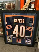 Gale Sayers Chicago Bears 31x35 Nicely Framed Signed Jersey Beckett
