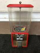 Vintage Parkway Northwestern Gumball Candy Vending Coin Machine Rectangular Red