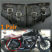 2×motorcycle Saddlebags Body Side Pouch Pu Leather Tool Organizer Bag Waterproof