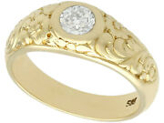 Antique 0.42ct Diamond And 14carat Yellow Gold Menand039s Solitaire Ring Size N 1/2