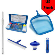 Swimming Pool Spa Leaf Skimmer Net And 18 Stainless Steel Brush Head Tool Blue