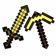 Minecraft Toy Pickaxe Gold Sword Kids Play Foam Action Figure New