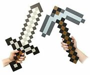 Minecraft Toy Pickaxe Silver Sword Kids Play Foam Action Figure New