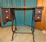 Treadle Sewing Machine Cabinet, Antique, Wooden, Porcelain Wheels And Drawer Knobs