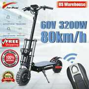 Powerful Electric Scooter 60v 3200w 11inch Off Road Fat Tire Dual Motor Wheel E