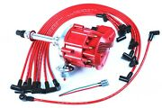 Pe350r Sbc 350 Super Hei Distributor And Red 8mm Spark Plug Wires Under Exhaust