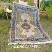 Yilong 4and039x6and039 Traditional Silk Rugs Handmade Classic Carpets Hand Knotted T126