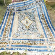 Yilong 4and039x6and039 Blue Rose Design Silk Rugs Handmade Lover Carpet Hand Knotted H039