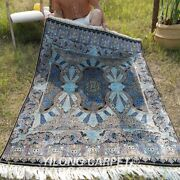 Yilong 4and039x6and039 Blue Mace Design Silk Rugs Handwoven Carpets Hand Knotted 161a