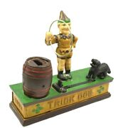 Vintage Working Trick Dog And Clown Cast Iron Mechanical Bank Hubley Reproduction