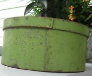 Antique Striking Wooden Thick Walled Pantry Box In Old Apple Green Paint