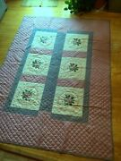 Quilt Lilac/blue Embroidered Blocks Hand Quilted Thinner Summer 81x 96