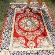 Yilong 4and039x6and039 Red Silk Rugs Handmade Medallion Carpet Villa Hand Knotted 010a