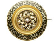 Enamel And Seed Pearl 15k Yellow Gold Mourning Brooch - Antique Victorian