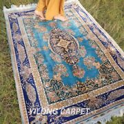 Yilong 4and039x6and039 Blue Silk Area Rugs Handmade Carpet Dining Room Hand Knotted 062a