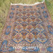 Yilong 4and039x6and039 Classic Silk Rugs Handmade All Over Carpet Floral Hand Knotted 1950