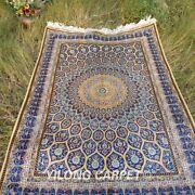 Yilong 4and039x6and039 Blue Silk Rugs Handmade Carpet Dome Pattern Hand Knotted 124a