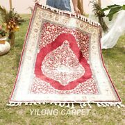 Yilong 4and039x6and039 Red Silk Rugs Handmade Carpet Living Room Hand Knotted 1193