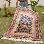 Yilong 4and039x6and039 Floral Silk Area Rugs Handmade Carpet Traditional Hand Knotted 124a