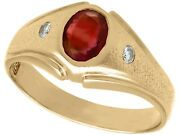 Vintage Synthetic Ruby And Diamond Ring In 18k Yellow Gold Circa 1950