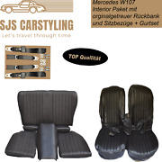 Seat Covers + Back Seat Foldable + Seat Belts Black For Mercedes Sl R/w107