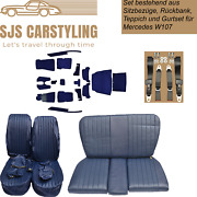 Seat Covers + Back Seat Foldable +carpet+ Belts Blue For Mercedes Sl R/w107