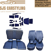 Seat Covers + Back Seat Foldable + Carpet Set, Blue For Mercedes Sl R/w107