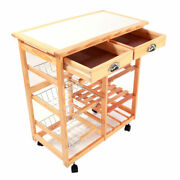 Removable Rolling Kitchen Storage Cart Dining Room Trolley Rack With 2 Drawers